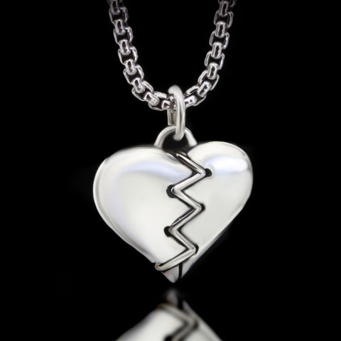Stitched Heart Necklace - Sterling Silver