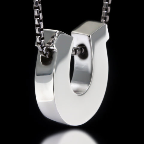Horseshoe Slider Necklace - Sterling Silver