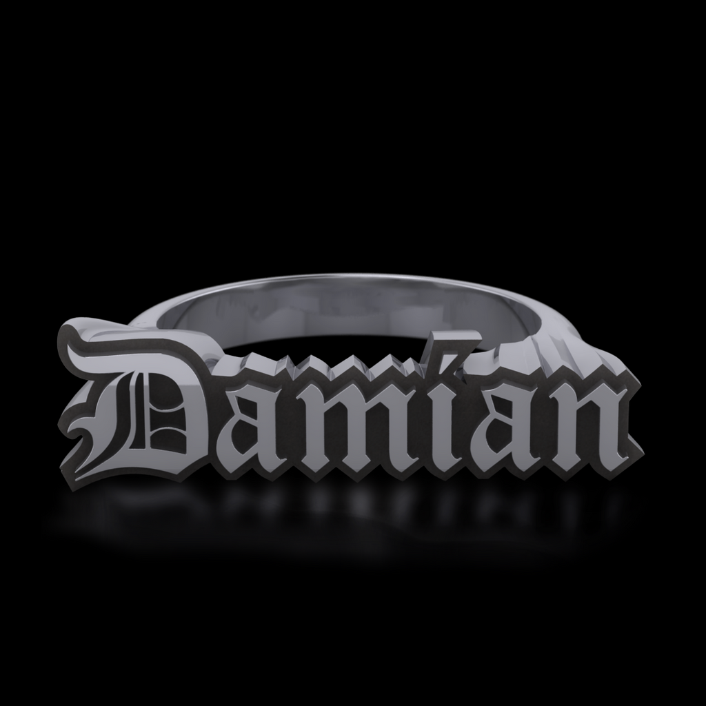 Custom Goth Name Ring - Sterling Silver
