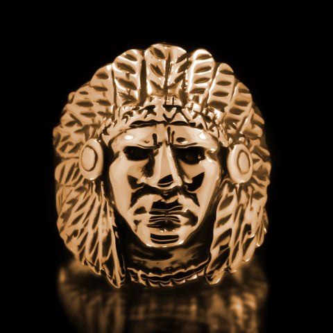 Indian Chief Ring - Brass
