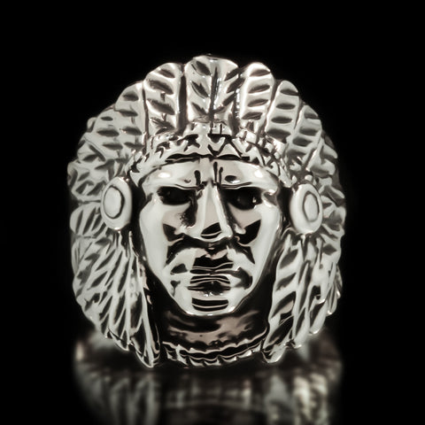 Indian Chief Ring - Sterling Silver