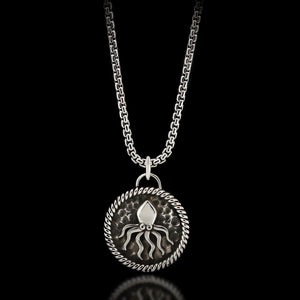 Kraken Medal Necklace - Sterling Silver - Twisted Love NYC