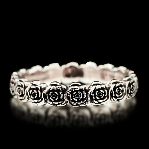 Rose Bangle - Sterling Silver