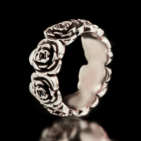 Rose Eternity Band - Sterling  Silver
