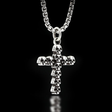 Skull Cross Necklace - Sterling Silver