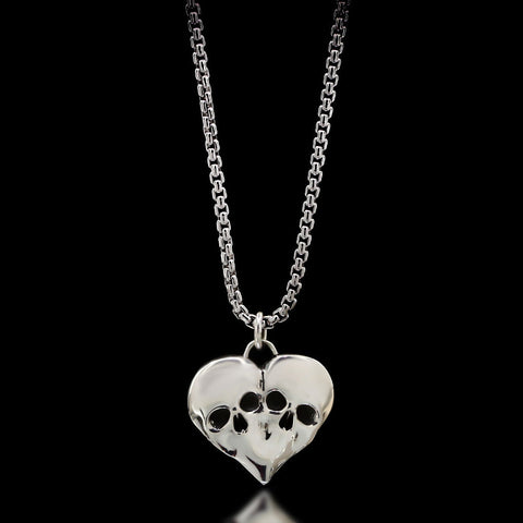 Eternal Love Skull Necklace - Sterling Silver