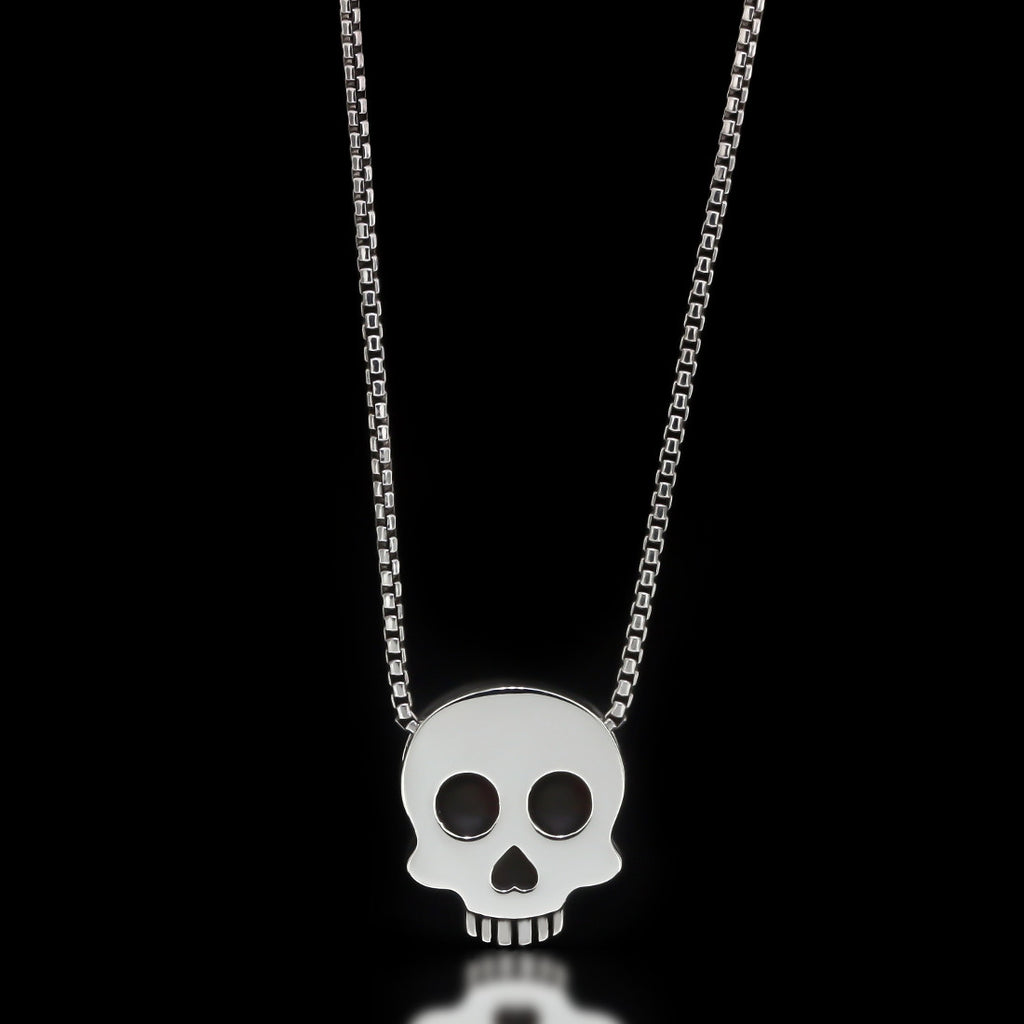 Skull Slider Necklace - Sterling Silver - Twisted Love NYC