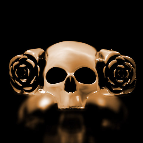 Skull And Roses Ring - Brass