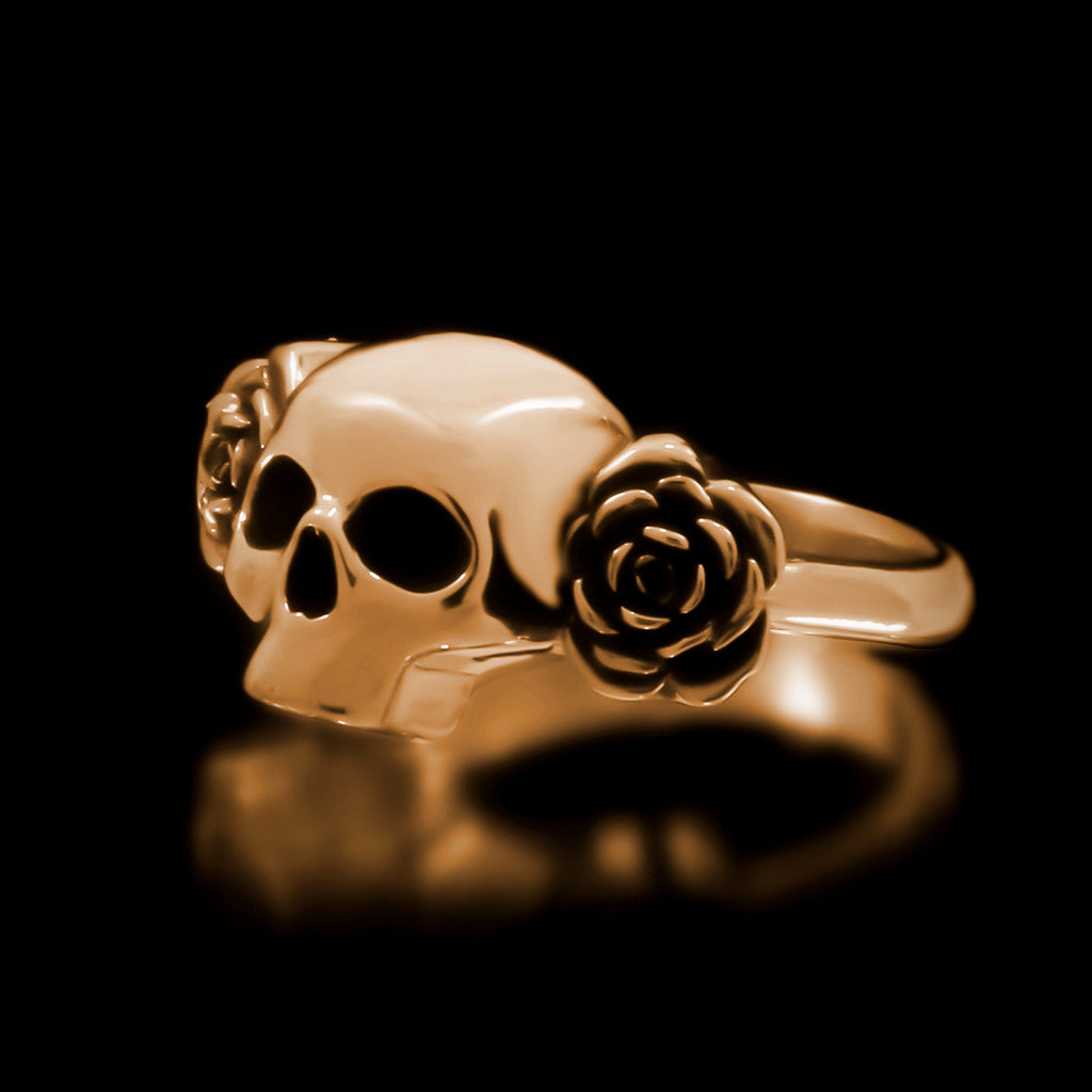 Skull And Roses Ring - Brass - Twisted Love NYC