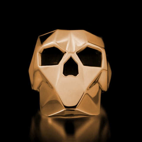 Faceted Skull Ring - Brass