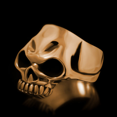 Biker Skull Ring - Brass