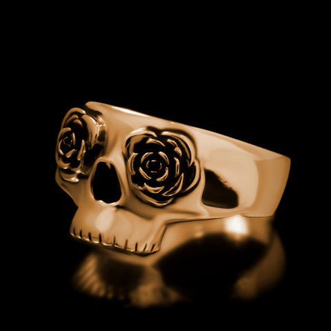 Half Skull Rose Eye Ring - Brass
