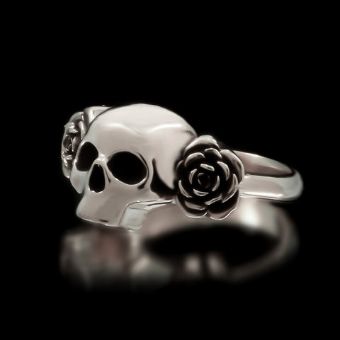 Skull And Roses Ring - Sterling Silver
