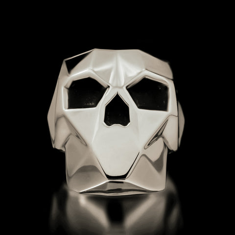 Faceted Skull Ring - Sterling Silver