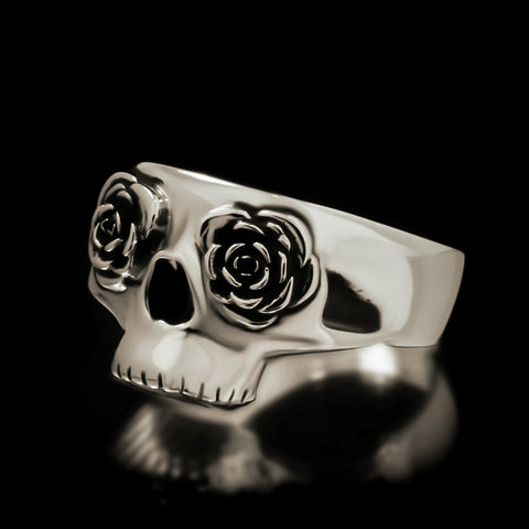 Half Skull Rose Eye Ring - Sterling Silver