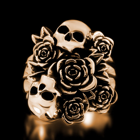 Skull Bouquet Ring - Brass