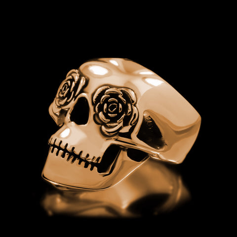 Classic Rose Eye Skull Ring - Brass