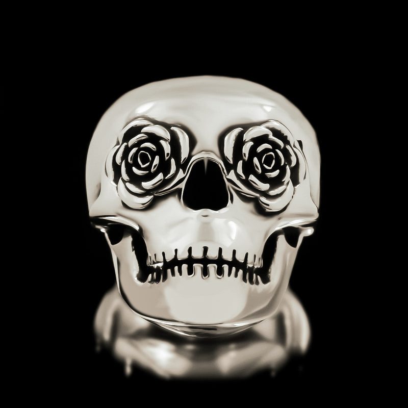 Classic Rose Eye Skull Ring - Sterling Silver - Twisted Love NYC