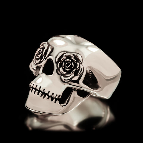 Classic Rose Eye Skull Ring - Sterling Silver