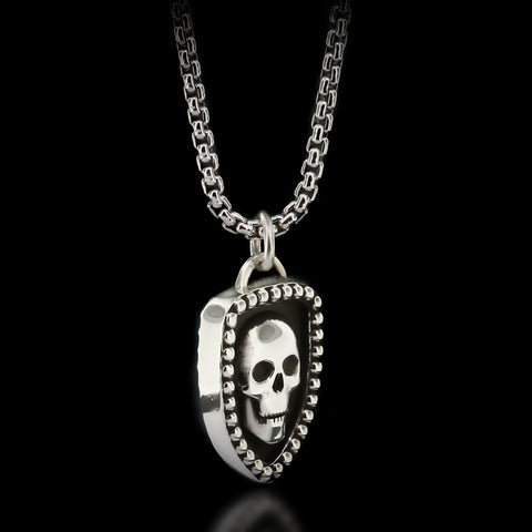 Skull Shield Necklace - Sterling Silver