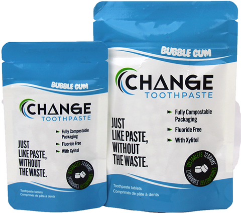 Change Toothpaste - Tablets - Bubble Gum, made in canada, zero waste, natural, vegan