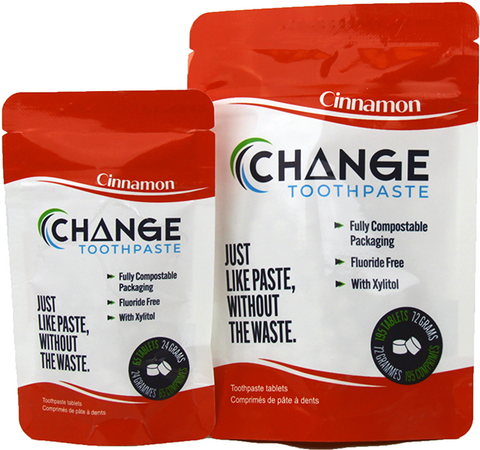Change Toothpaste - Tablets - Cinnamon Made in canada, clean, natural, zero waste, compostable packaging