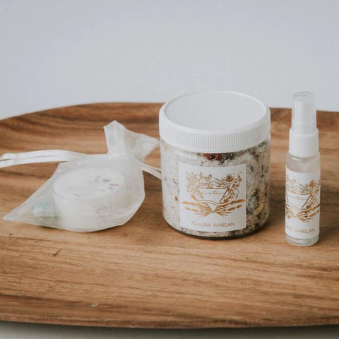 Alauna Whelan Handcrafted Luxury Goods - Femininity - Water Ritual Bath Set, bathing ritual for self-love and compassion botanical bath soak nurture light candle amazonite crystal mini mist