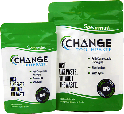 Change Toothpaste - Tablets - Spearmint, Made in canada, natural toothpaste, compostable packaging, zero waste dental care