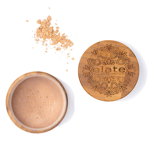 Elate Unify Glow Powder -  Light mEDIUM in bamboo jar made in canada, clean, natural, cruelty-free, sustainable