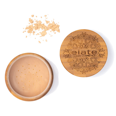 Elate Unify Matte Powder - Light  in bamboo jar made in canada, clean, natural, cruelty-free, sustainable