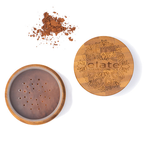 Elate Unify Matte Powder -  Medium Deep in bamboo jar made in canada, clean, natural, cruelty-free, sustainable