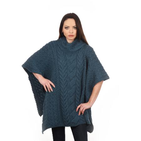 Aran Woollen Mills Cowl Neck Poncho Supersoft Merino Wool