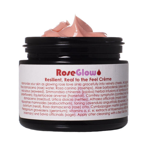 Living Libations - Rose Glow Crème with lid off, Made in Canada, Cruelty Free Skincare, Natural Skincare
