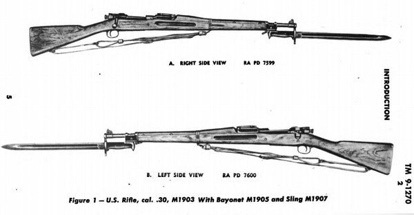 The M1903 rifle with M1905 bayonet and M1907 sling
