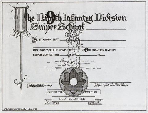 9th infantry Division Sniper School Certificate
