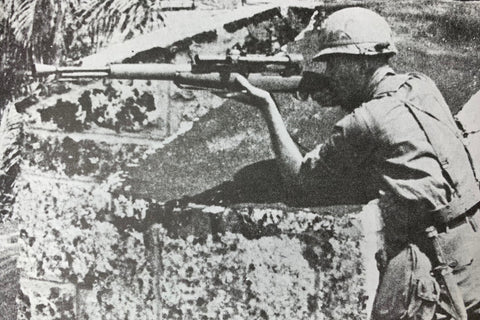 Sniper in Dominican Conflict using M1D Garand with M84 Riflescope