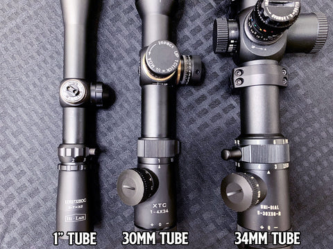 "Scope Tubes of Different Sizes 1"" 30mm 34mm"