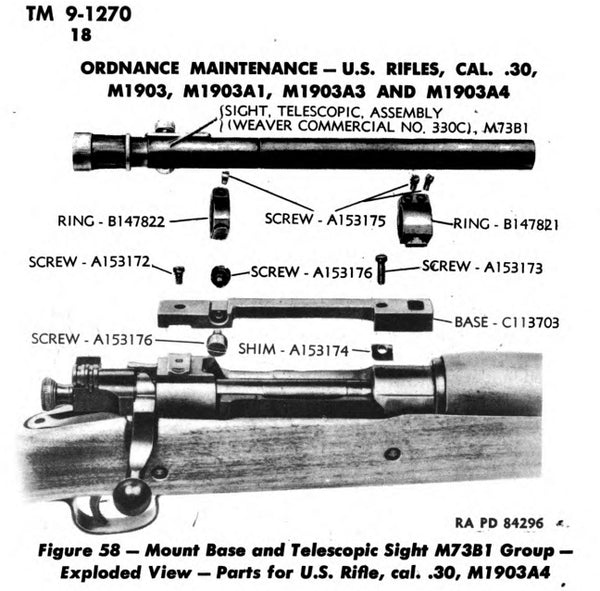 An exploded view of the Weaver 330C scope group