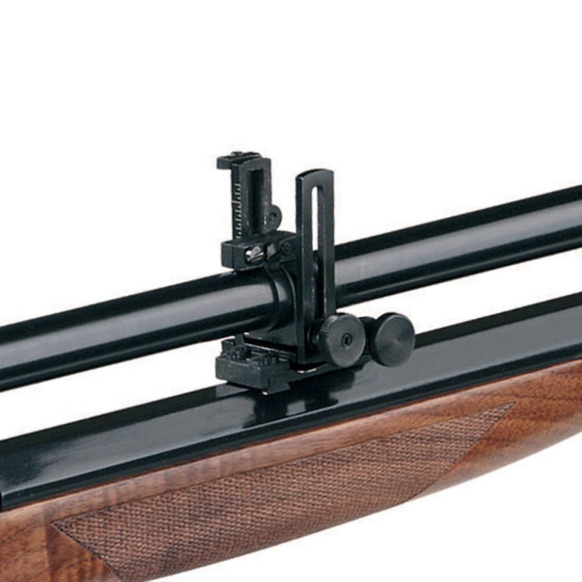 The rear mount of the 6X Long Malcolm scope, showing the dovetail placement