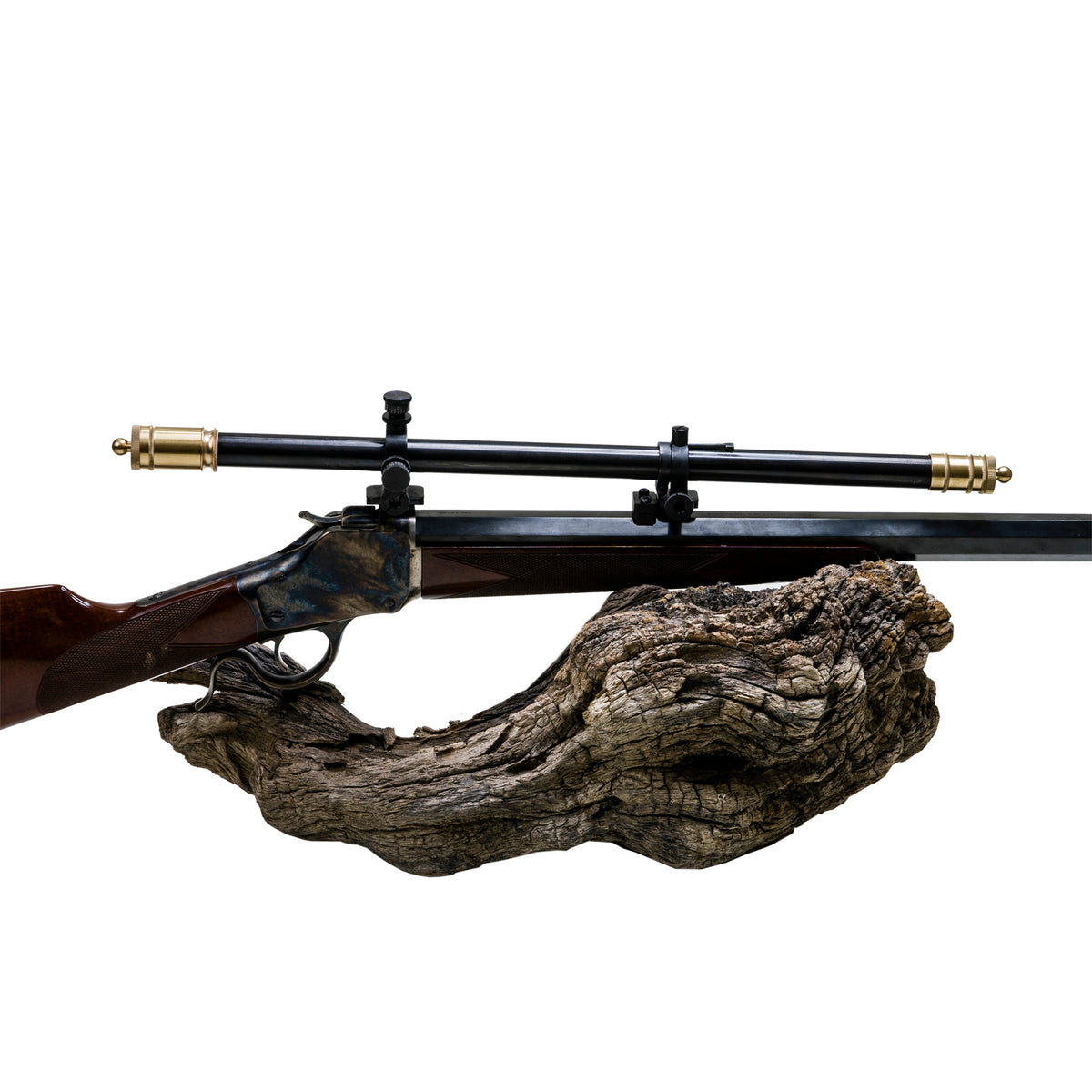Malcolm 6X Two Tone Rifle Telescope Vintage on 1885 High Wall