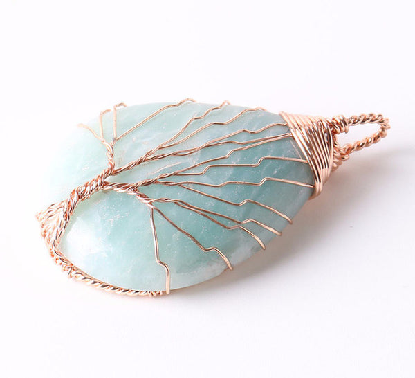 Wire Wrap Natural Stone Water Drop Necklace