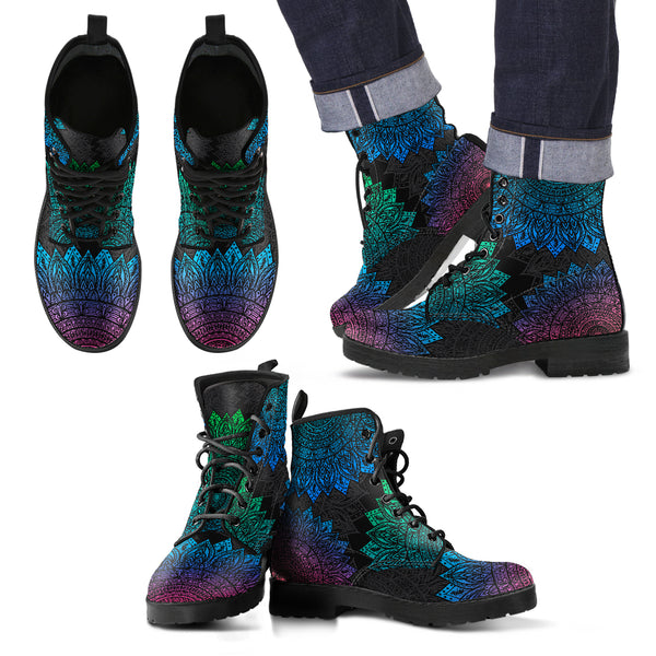 Men's Mandala Pattern Leather Boots in Blue Green-Purple Pallete