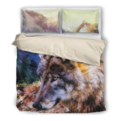 Painted Mountain Wolf Duvet Set