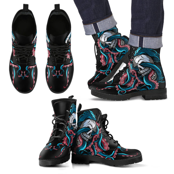 Men's Skull and Octopus Leather Boots