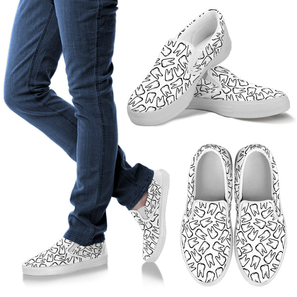 Pearly Whites - Sketched Teeth Dental Pattern Slip-On Shoes