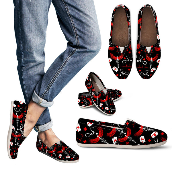 Casual Nursing Shoes - Black/Red