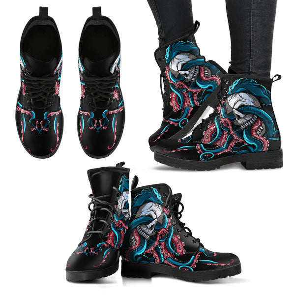 Women's Skull and Octopus Leather Boots