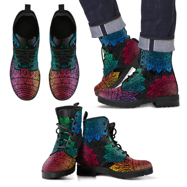 Men's Rainbow Mandala Pattern Leather Boots