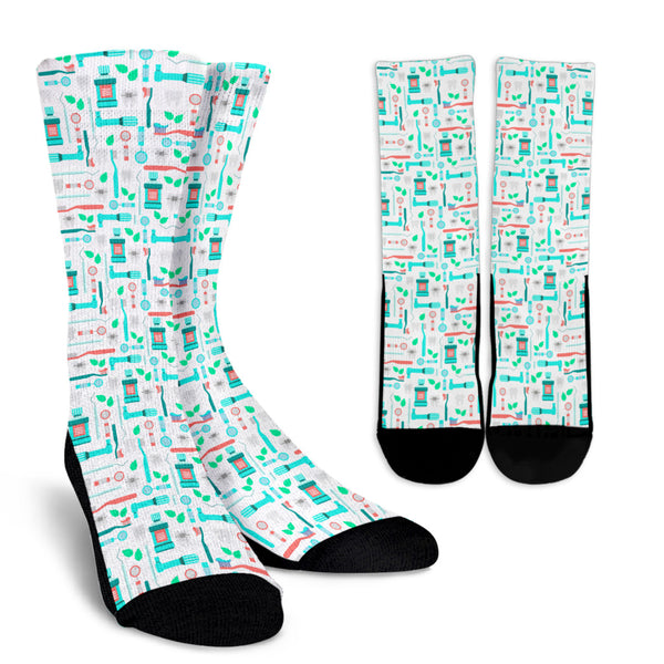 Minty Fresh Dental Instrument Pattern Crew Socks