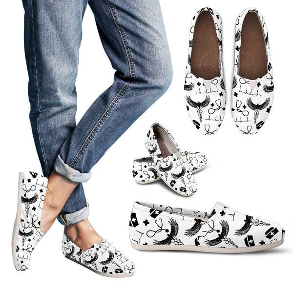 White Nursing Shoes - Casual Black & White